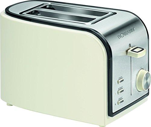 Bomann TA 1567 CB Toaster, Schwarz/creme/edelstahl