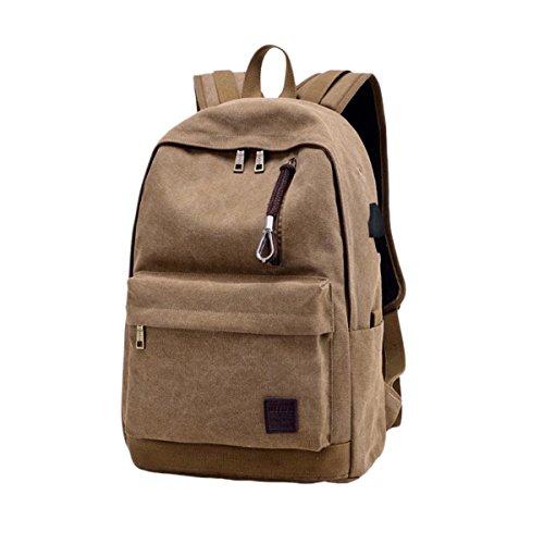 Imagen de hosaire  para chico carga usb port 15.6' portátil  bolso escolar colegio  bolso, para hombre mujer estudiante marrón
