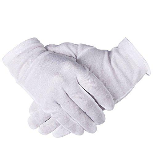 Weiß Baumwolle Handschuhe, ezakka 12Paar 21,8cm Hand Feuchtigkeitsspendende Handschuhe für Kosmetik Feuchtigkeitsspendende Münze Schmuck Inspektion Hand Spa (Baumwolle Bank)