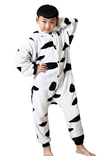 Halloween Kostüm Kleinkind Kuh (Happy Cherry Kind Schlafanzug Warmer Flanell Einteiler Pyjamas Unisex Tier Cosplay Kostüme Tierkostüme Kuh Dicke Nachtwäsche Kostüm Für Kinderparty Animal Sleepwear Geeignet Für 6 Bis 7 Jahre -)