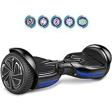 Hoverboards 6.5 Pouces Tout-Terrain, Gyropode avec Roues Multicolores Clignotantes, Haut-Parleur Bluetooth et LED colorée, Scooter Électrique Auto-équilibrage ,Conception Spéciale (Argenté)