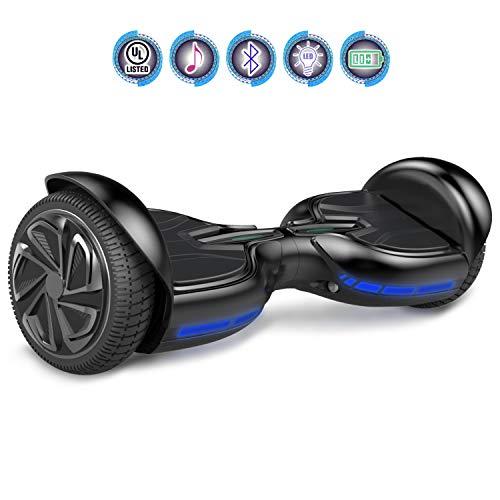 Hoverboards Patinete Eléctrico Balance Board de 6.5' Pulgadas-Scooter con LED y Bluetooth (B-Black)