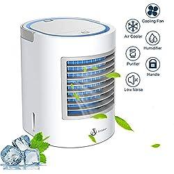 Climatiseur mobile, Anbber Personal 4 en 1 multifonction USB portable Mini climatiseur, humidificateur et purificateur d'air avec veilleuse, 3 niveaux de puissance pour le camping à domicile