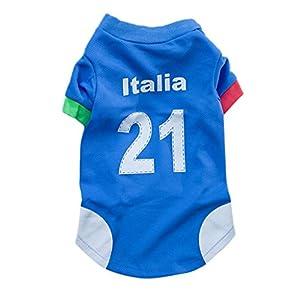 BMD-PET Manteau de Chien de Compagnie, Chandail de Chien de T-Shirt de Football de la Coupe du Monde 2014 de Football pour Le Maillot de Sport de l'Italie