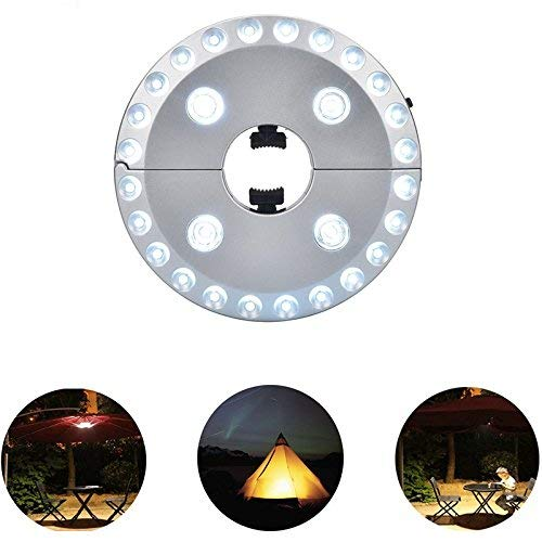Eulan Patio Umbrella Light 3 Lighting Modes Cordless 24 + 4 LED Garden Lamp Battery Operated Umbrella Pole Light for Camping Tents or Outdoor Use (Silver) Umbrella -