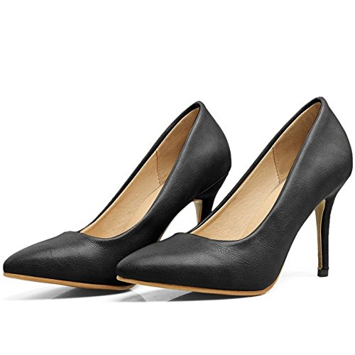Slip Pointed Schuhe Damen Schwarz Pumps Stiletto Usual on Toe Office Dress COOLCEPT f8tXPnX