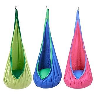 Sfeomi Hamaca Silla Colgante para Niños Columpios Infantiles Interior con Capacidad de 80kg Hanging Chair Swing Seat para Interiores y Exteriores, Hogar y Jardín (Verde)