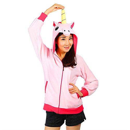 Unisex Einhorn Pullover Unicorn Kapuzenpullover Sweatjacke Cosplay Kostüm Halloween Geschenke für Erwachsene, Frauen, Männer (XL für 178-188cm, ()