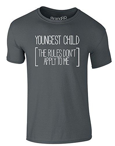 Brand88 - Youngest, Erwachsene Gedrucktes T-Shirt Dunkelgrau/Weiß