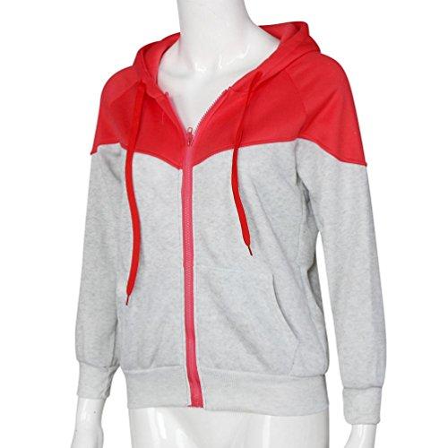 Ouneed® Femme FLUO Sweat Shirt a Capuche ZIppe B