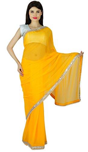 Ethnischen Partei Zu Tragen Mode Sari Designer Georgette Hochzeit Saree Kleid Geschenk Für Sie (Indische Sari Tragen)