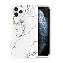 """GVIEWIN Marble iPhone 11 Pro Case 2019 5.8"""", Ultra Slim Thin Glossy Soft TPU Rubber Gel Phone Case Cover Compatible iPhone 11 Pro 5.8 Inch 2019 Release(White/Gold)"""