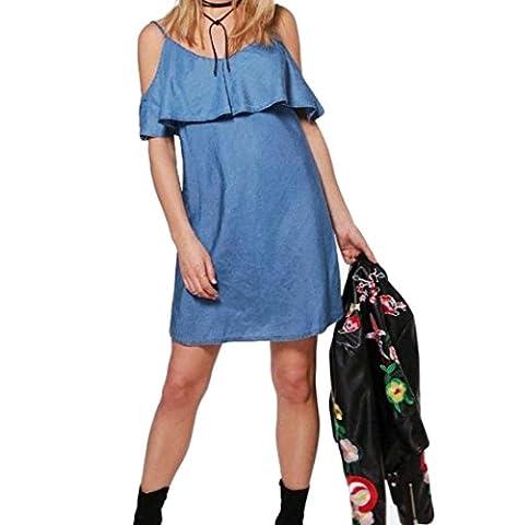 Tootlessly Women's Ruffled Denim Off Shoulder Wild Slip Dress Sundress L Dark Blue
