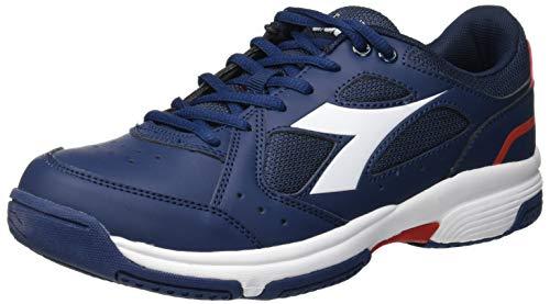 Diadora VOLEE, Scarpe da Tennis Uomo, Multicolore (Blu Profondo/Rosso Capitale C2202), 44.5 EU