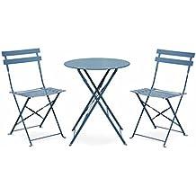 Salon De Jardin Bistrot Pliable Emilia Rond Bleu Grise Table 60cm Avec Deux Chaises