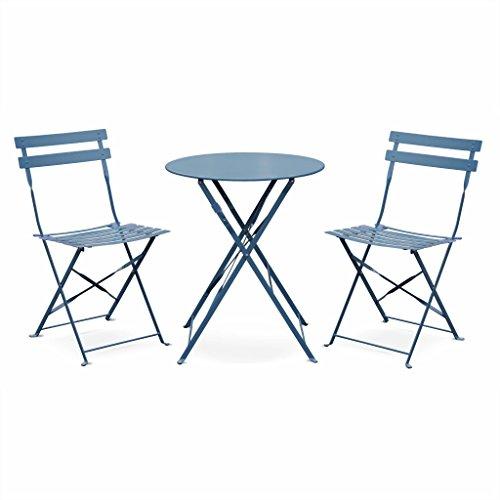 Salon de Jardin bistrot Pliable Emilia Rond Bleu grisé, Table ⌀ 60cm avec Deux chaises Pliantes, Acier thermolaqué