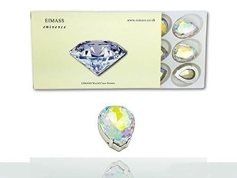 Pack of 10 (18mm x 25mm, Crystal AB Teardrop), EIMASS®