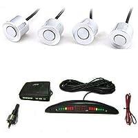 Kit 4 Sensores Aparcamiento Blancos Alarma Acústico pantalla LED coche furgoneta