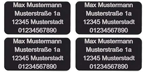 CopterFarm Sicherheitsschild Drohnen Kennzeichnung Plakette Adressgravur Kennzeichen Schild Feuerfest Selbstklebend 1-8er Set (4, Micro 20x10mm)