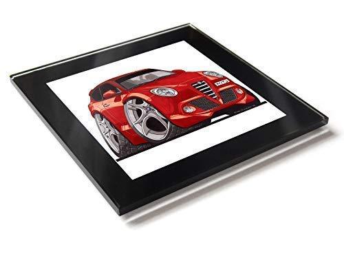 Koolart Cartoon Auto Alfa Romeo Mito Glastisch Untersetzer mit Geschenkverpackung - Rot, 10cm x 10cm -
