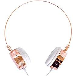 Lily England Casque Audio Ultraléger, Superbe Couleur (Or Rose) - Son de Qualité HiFi, Beau Design Confortable, Oreillettes Blanches - Télécommande sur Câble, Micro Intégré Contrôle Volume/Sélection