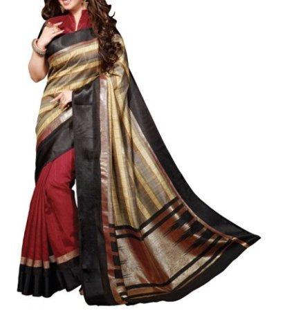 DivyaEmporio Women's Cotton Silk Saree (V-13311_Multicolored)