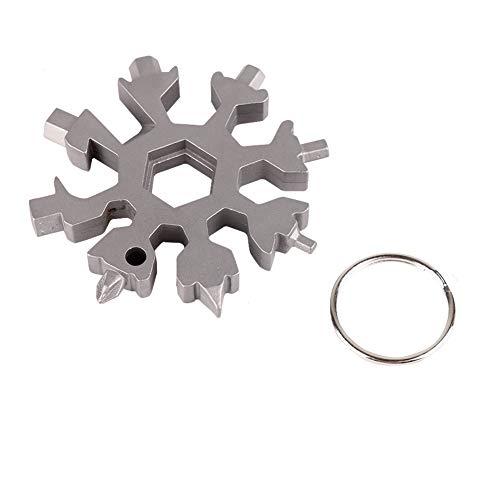 Shiningbaby 18-in-1 Multi-Tool Schneeflocke Edelstahl Schlüsselanhänger Ring, EDC Mehrzweck-Compact Pocket Tool Fahrradreparatur, Schraubendreher, Flaschenöffner, anpassen Bindungen -
