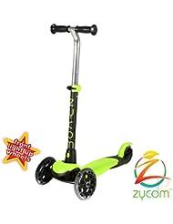 Zycom Zing tres rueda Scooter con luz hasta ruedas–verde lima/negro