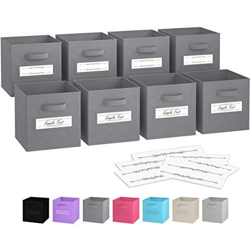Faltbare Aufbewahrungsboxen (8er Set) | Boxen Werden Mit 2 Griffen & 10 Etikettenfensterkarten | Regal Korb | Faltbox Regalorganizer aus Stoff | Aufbewahrungsbox für Kallax 26,5 x 26,5 x 28 cm (Grau) -