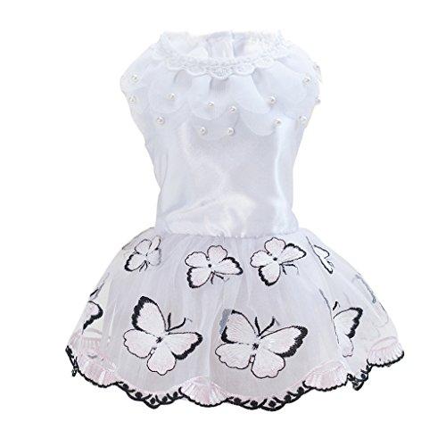 perfk Schmetterling Muster Haustier Hund Rock Kleid Hundekleidung für Party Hochzeit Urlaub - Rosa...