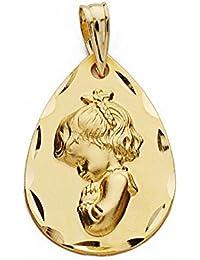 Medalla oro 9k Virgen Niña 21mm. forma gota [AA1756GR] - Personalizable - GRABACIÓN INCLUIDA EN EL PRECIO