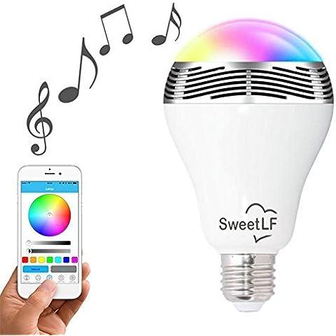 SweetLF E27 Bombilla Regulable Multicolor Altavoz Bluetooth 4.0 Controlado por APP Gratuito para iPhone iPad o Teléfono