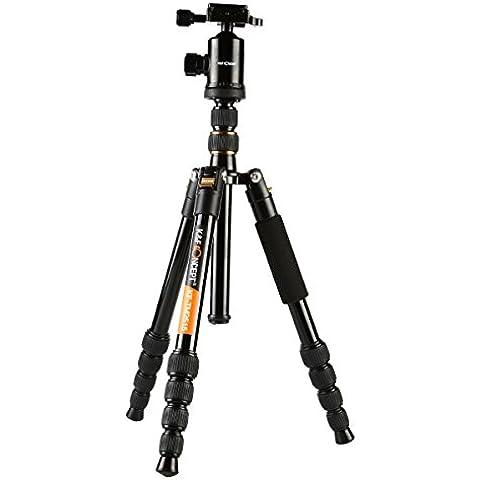 K&F Concept - Tripodes para Cámaras Reflex TM2515 Trípode Viaje (Monopie Desmontable, Patas de 5 Secciones) Universal para Panasonic Canon Nikon DSLR Cámara y DV, Altura Máxima: 152cm, Carga: 12 kg