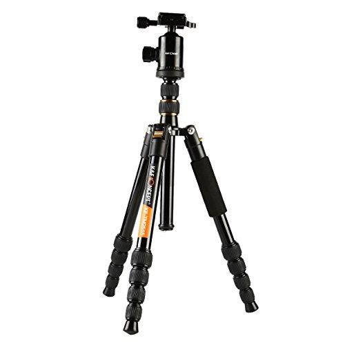 Treppiedi, K&F Concept Treppiedi Reflex Dslr Camera DV Monopiede con Magnesio in Lega di Alluminio Sezioni Gambe a 5 sezioni con Capacità di Carico 8kg in Nero per Nikon D810 D800 D800E D7200 D7100 D7000 D750 D610 D600 D5500 D5300 D5200 D5100 D5000 D3300 D3200