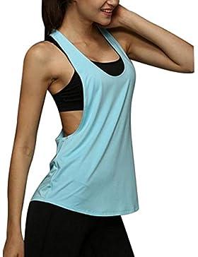 Minetom Mujeres Verano Casual Sport Gym Camiseta Tirantes Manga Corta Blusa Camiseta Sin Mangas Cuello Redondo