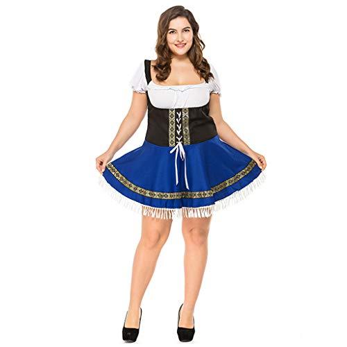 SDKHIN Deutsches Bierfest Kostüm Bayerisches Oktoberfest Trachtenkleid Blau Halloween Party Königin Kostüm,Blue-XXL