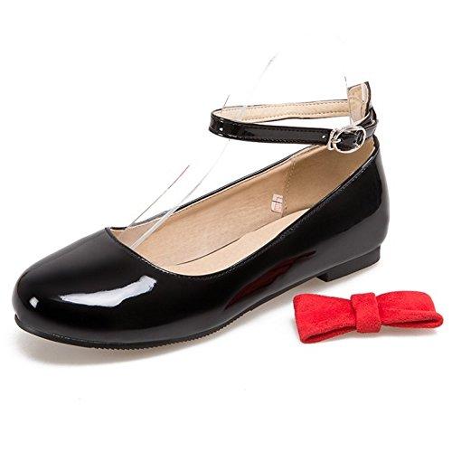 ... COOLCEPT Damen Mode Knochelriemchen Pumps Flach Schuhe Mit Bogen Schwarz  ...