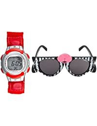 Fantasy World Red Watch And Black Sunglass Combo For Boys And Girls