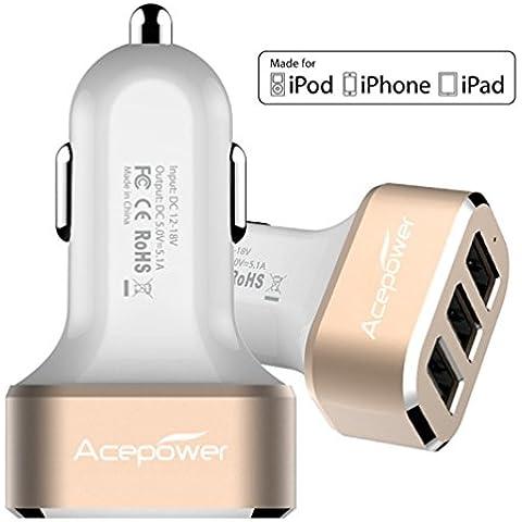 [Certificado por Apple] Cargador USB de 3 Puertos ACEPower® para coche compatible con todos los dispositivos Apple y Android 26W 5.1A