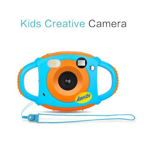 Caméra Enfant, Anti-chute Appareil Photo Numérique pour Garçons Filles, AMKOV 1.77 Pouces HD LCD Ecran 5MP Caméra d'action USB Rechargeable Kidizoom avec Fonction Seilf