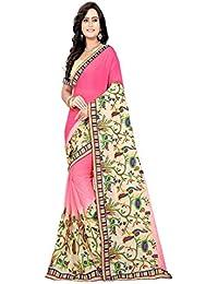 93f4f43f63 Sunshine Fashion Women's Chiffon Saree With Blouse Piece (Pink_FreeSize)