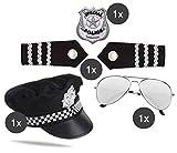 TK Gruppe Timo Klingler Polizei SWAT Kostüm Set Fasching Karneval Uniform bestehend aus Hut, Brille, Polizeiabzeichen, Pilotenbrille, Schulterklappen, für Fasching Karneval Damen und Herren