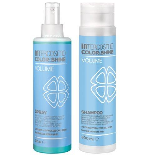 INTERCOSMO Color & Shine Volume Shampoo 300ml + Spray 250ml Kit Per Capelli Sottili