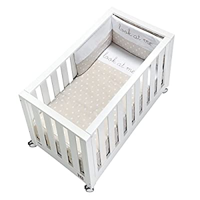cotinfant Look at Me - Co-Sleeping Cot 60 x 120 cm with Mattress and Textile White/Sand