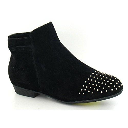 Spot On - Stivaletti alla caviglia tacco basso - Donna (37) (Nero camoscio)