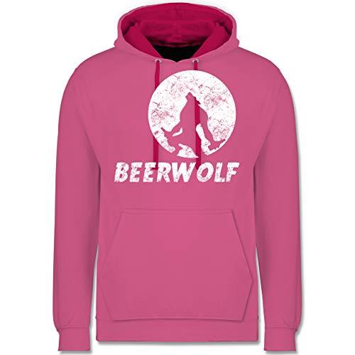 Statement Shirts - Beerwolf - XXL - Rosa/Fuchsia - JH003 - Kontrast Hoodie (Gruppe Alkohol Halloween Kostüme)