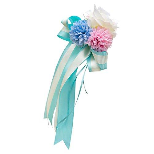 P Prettyia Große Schleife Blume aus Band für große Geschenke Weihnachten Geschenkschleife - Blau und Rosa, 30 x 15 x 8 cm