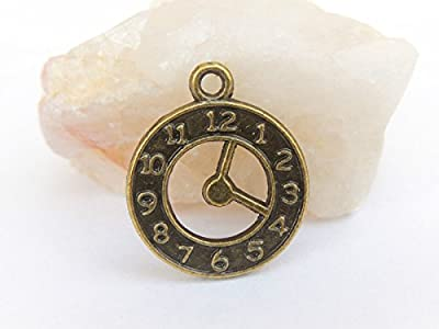 Lot de 20 Breloques pendentifs montre - horloge - 21x18mm - bronze antique