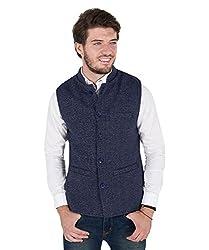 Zoravie Mens Solid Cotton Sleeveless Nehru Jacket, Dark Blue