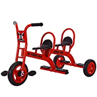 SHARESUN Kids Trike,High carbon steel PVC wheel Stroller Bike Children Tricycle Double Seats for Twins, Baby Infant 3 Wheels,Red